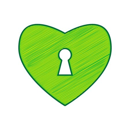 Heart with lock sign. Vector. Lemon scribble icon on white background. Illustration