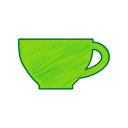Cup sign. Vector. Lemon scribble icon on white background.