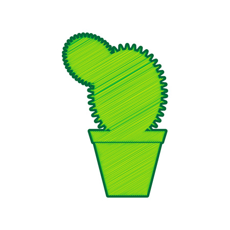 Cactus sign illustration. Vector. Lemon scribble icon on white background.