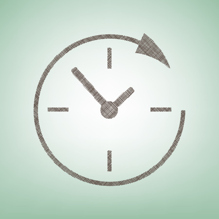 not open: Service and support for customers around the clock and 24 hours. Vector. Brown flax icon on green background with light spot at the center. Illustration
