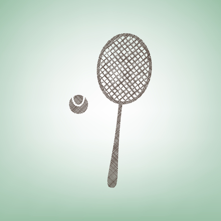 Tennis racquet with ball sign. Vector. Brown flax icon on green background with light spot at the center. Ilustração
