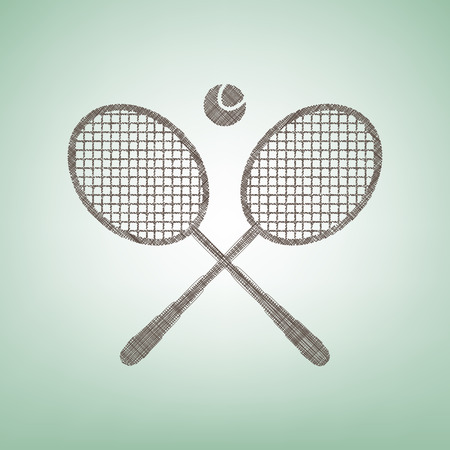 Two tennis racket with ball sign. Vector. Brown flax icon on green background with light spot at the center. Illustration