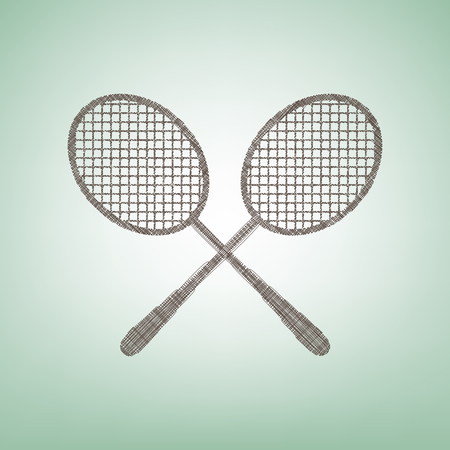 Two tennis racket sign. Vector. Brown flax icon on green background with light spot at the center.