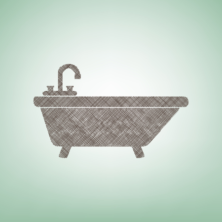 Bathtub sign illustration. Vector. Brown flax icon on green background with light spot at the center. Ilustração