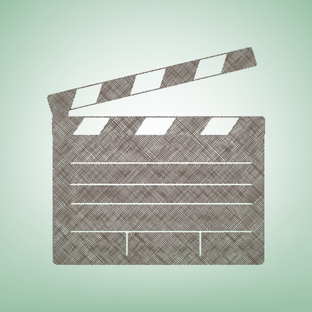 Film clap board cinema sign. Vector. Brown flax icon on green background with light spot at the center. Illustration
