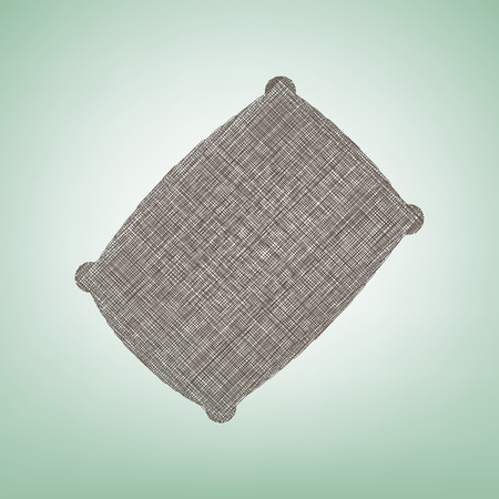 Pillow sign illustration. Vector. Brown flax icon on green background with light spot at the center.