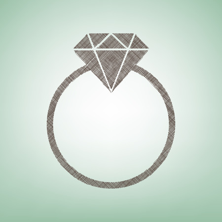 Diamond sign illustration. Vector. Brown flax icon on green background with light spot at the center.