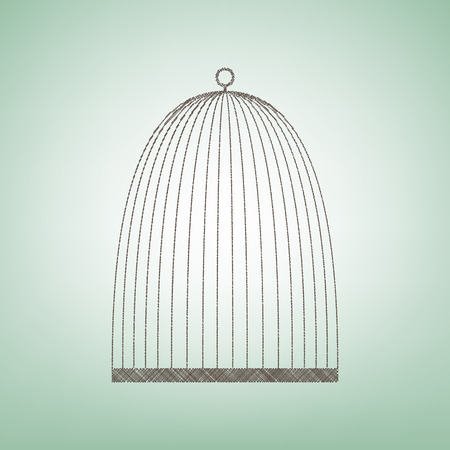 Bird cage sign. Vector. Brown flax icon on green background with light spot at the center.