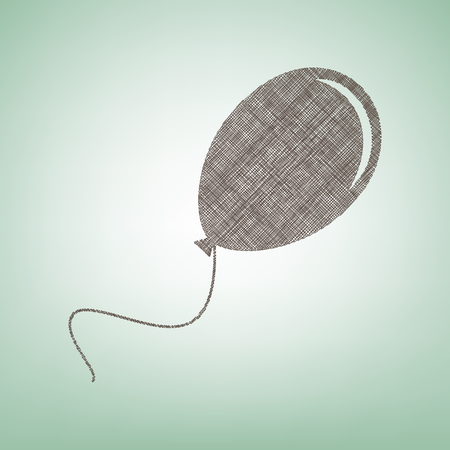 Balloon sign illustration. Vector. Brown flax icon on green background with light spot at the center.