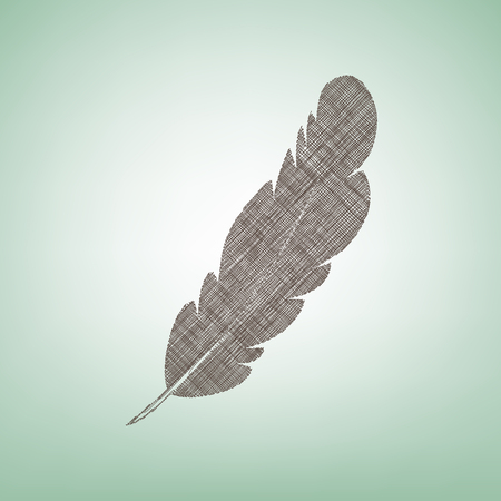 Feather sign illustration. Vector. Brown flax icon on green background with light spot at the center.