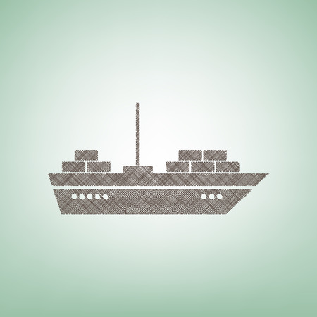 Ship sign illustration. Vector. Brown flax icon on green background with light spot at the center. Illustration