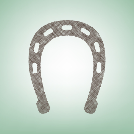 Horseshoe sign illustration. Vector. Brown flax icon on green background with light spot at the center.