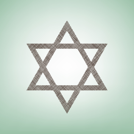 jewish star: Shield Magen David Star. Symbol of Israel. Vector. Brown flax icon on green background with light spot at the center.
