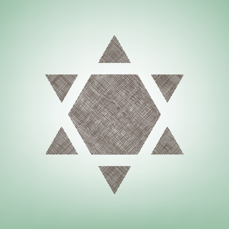 Shield Magen David Star Inverse. Symbol of Israel inverted. Vector. Brown flax icon on green background with light spot at the center.