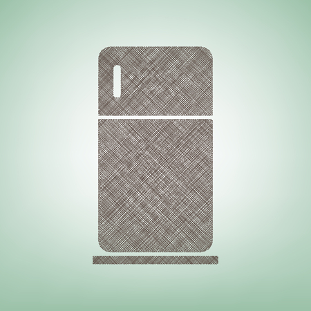 Refrigerator sign vector illustration. Brown flax icon on green background with light spot at the center. 向量圖像