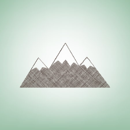 snow capped: Mountain sign illustration. Vector. Brown flax icon on green background with light spot at the center. Illustration