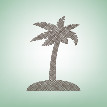Coconut palm tree sign. Vector. Brown flax icon on green background with light spot at the center.