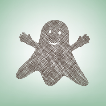 Ghost sign. Vector. Brown flax icon on green background with light spot at the center. 向量圖像