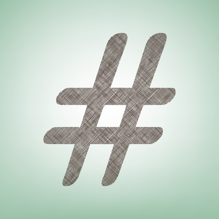 Hashtag sign illustration. Vector. Brown flax icon on green background with light spot at the center.