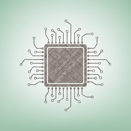 electronic components: CPU Microprocessor illustration. Vector. Brown flax icon on green background with light spot at the center. Illustration