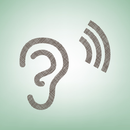 Human anatomy. Ear sign with soundwave. Vector. Brown flax icon on green background with light spot at the center. Vettoriali