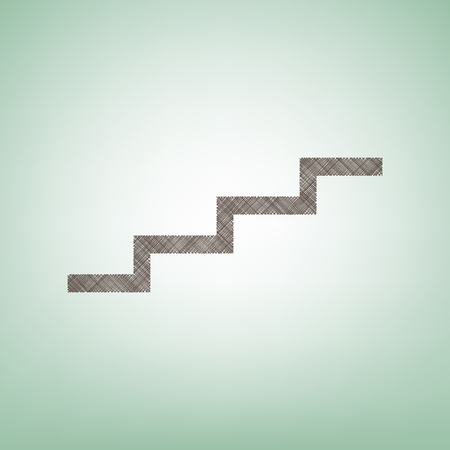 Stair up sign. Vector. Brown flax icon on green background with light spot at the center.