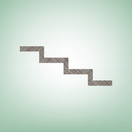 Stair down sign. Vector. Brown flax icon on green background with light spot at the center.