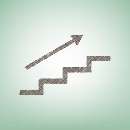 Stair with arrow. Vector. Brown flax icon on green background with light spot at the center. Illustration