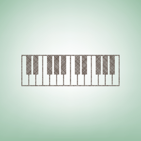 Piano Keyboard sign. Vector. Brown flax icon on green background with light spot at the center. Illustration
