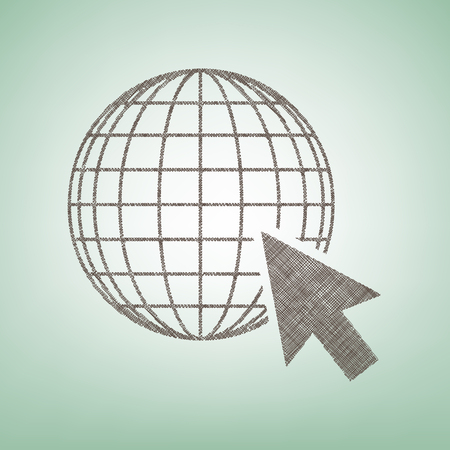 Earth Globe with cursor. Vector. Brown flax icon on green background with light spot at the center.