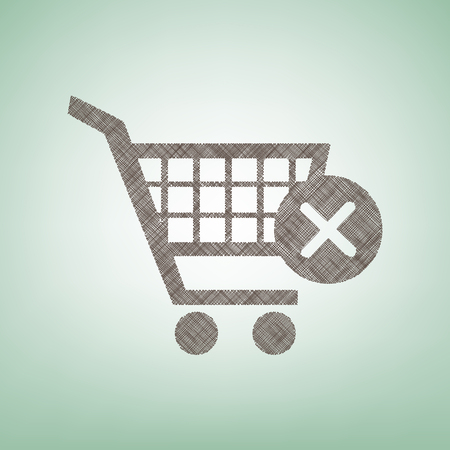 Shopping Cart with delete sign. Vector. Brown flax icon on green background with light spot at the center.