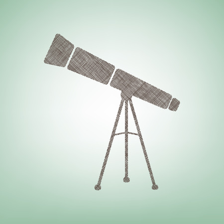 Telescope simple sign. Vector. Brown flax icon on green background with light spot at the center.