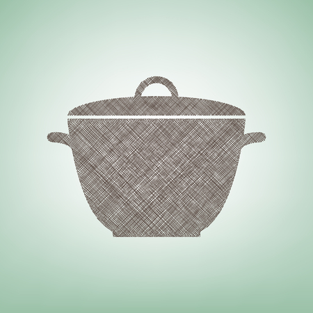 Saucepan simple sign. Vector. Brown flax icon on green background with light spot at the center.