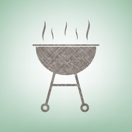 Barbecue simple sign. Vector. Brown flax icon on green background with light spot at the center.