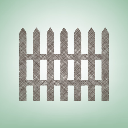 Fence simple sign. Vector. Brown flax icon on green background with light spot at the center. Illustration