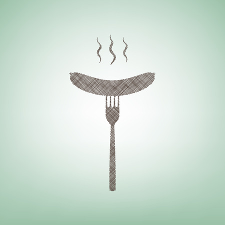 Sausage on fork sign. Vector. Brown flax icon on green background with light spot at the center.