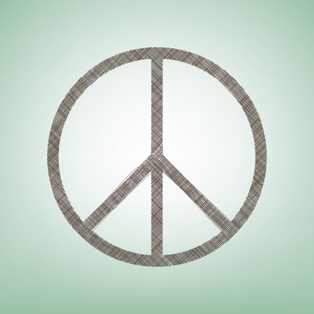 pacificist: Peace sign illustration. Vector. Brown flax icon on green background with light spot at the center.