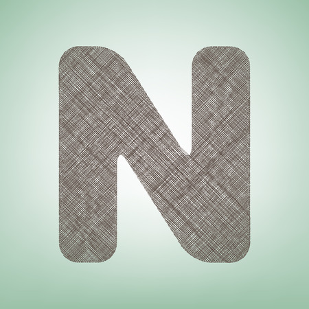 Letter N sign design template element. Vector. Brown flax icon on green background with light spot at the center.