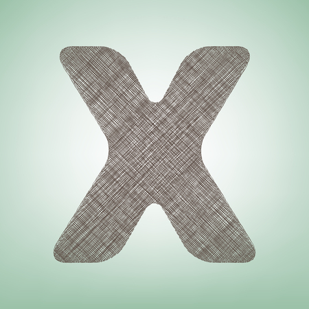 x marks the spot: Letter X sign design template element. Vector. Brown flax icon on green background with light spot at the center. Illustration