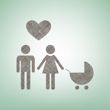 Family symbol with pram and heart. Husband and wife are kept each others hands. Brown flax icon on green background with light spot at the center.