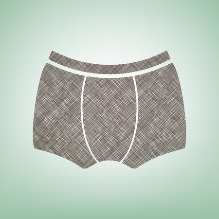 Mans underwear sign. Brown flax icon on green background with light spot at the center.