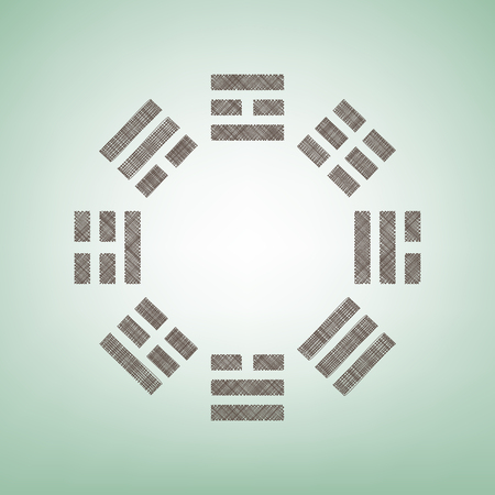 Bagua sign. Vector. Brown flax icon on green background with light spot at the center.