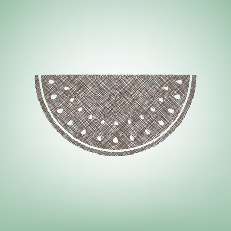 Watermelon sign. Vector. Brown flax icon on green background with light spot at the center. Illustration
