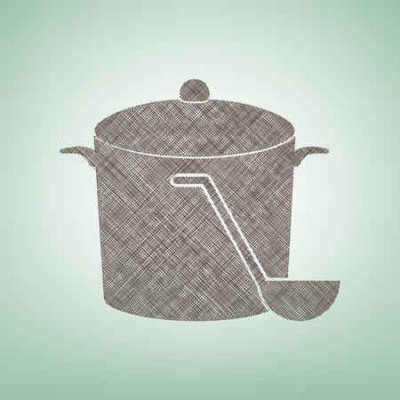 Pan met stoomteken. Vector. Bruin vlas pictogram op groene achtergrond met lichte plek in het midden. Stock Illustratie