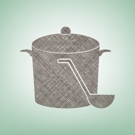 Pan with steam sign. Vector. Brown flax icon on green background with light spot at the center.