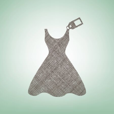 light duty: Woman dress sign with tag. Vector. Brown flax icon on green background with light spot at the center.