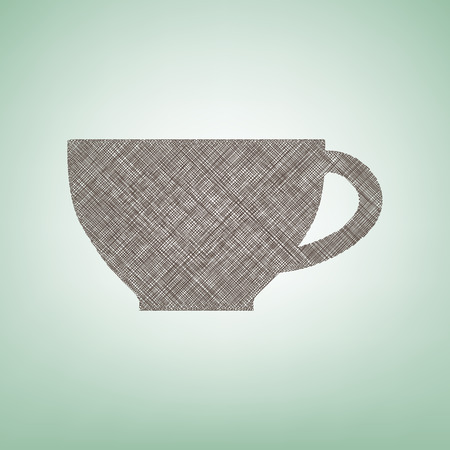 Cup sign. Vector. Brown flax icon on green background with light spot at the center.