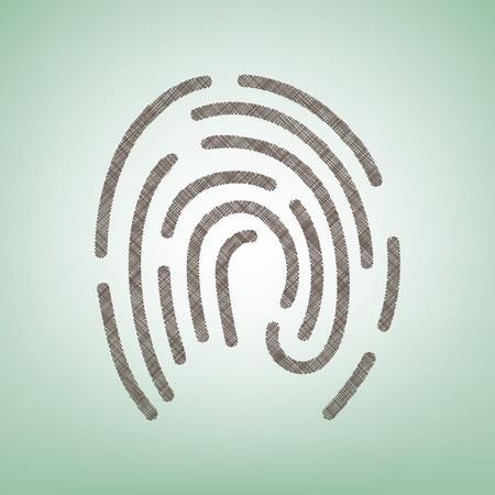 Fingerprint sign illustration. Vector. Brown flax icon on green background with light spot at the center.