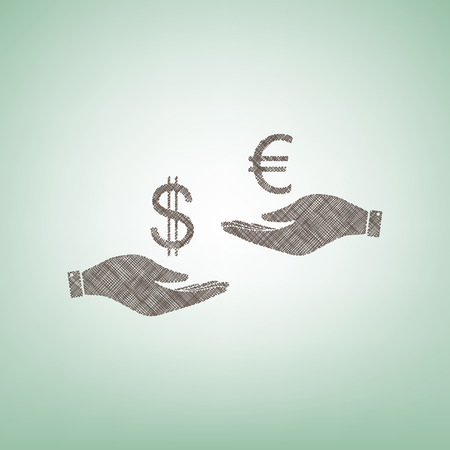 Currency exchange from hand to hand. Dollar adn Euro. Vector. Brown flax icon on green background with light spot at the center. Stock Illustratie