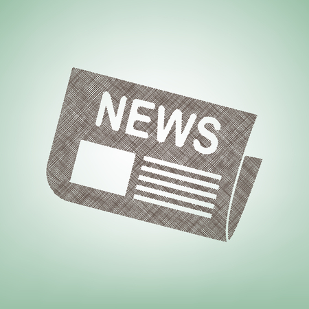 journalism: Newspaper sign. Vector. Brown flax icon on green background with light spot at the center.